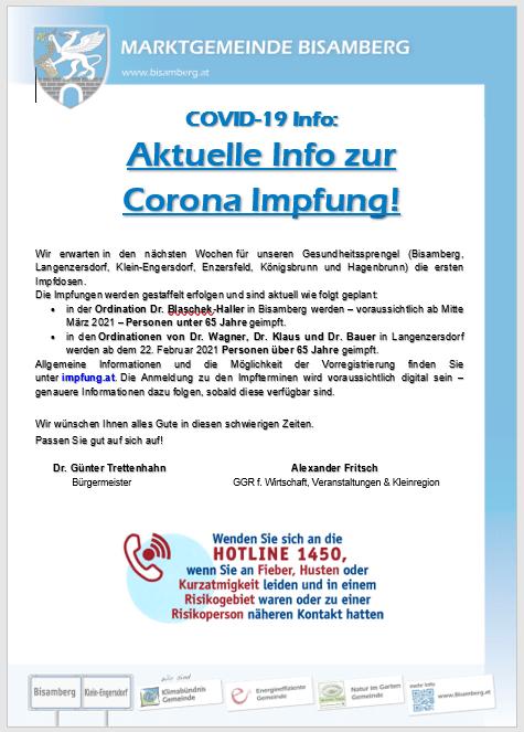 Aktuelle COVID19-Info der Marktgemeinde Bisamberg
