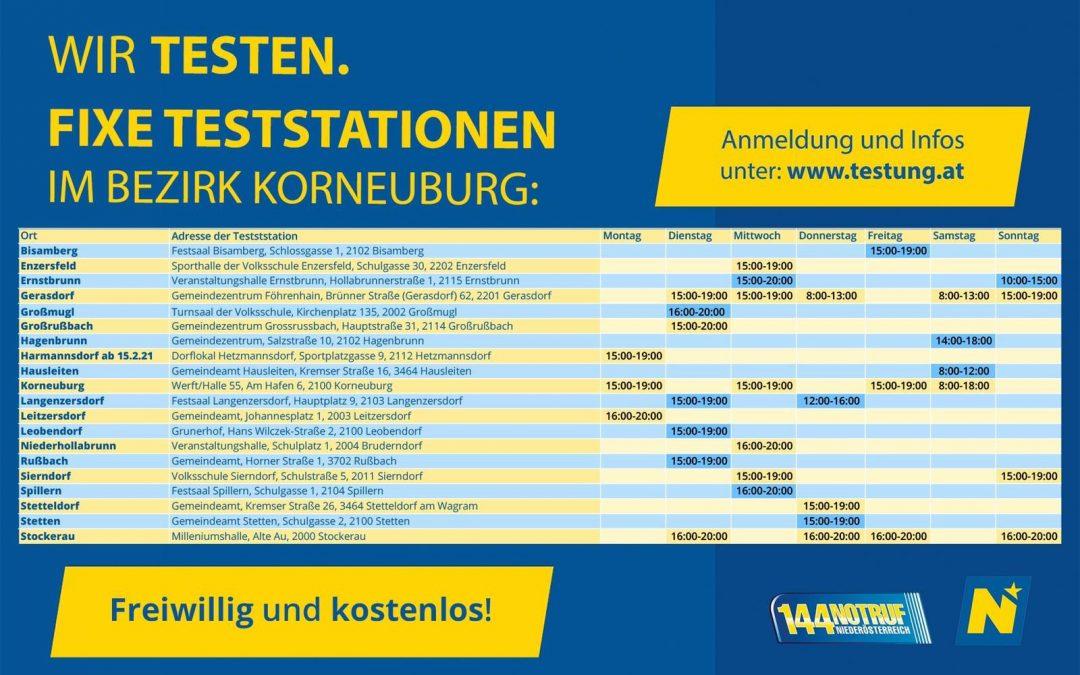 Fixe Teststationen im Bezirk Korneuburg
